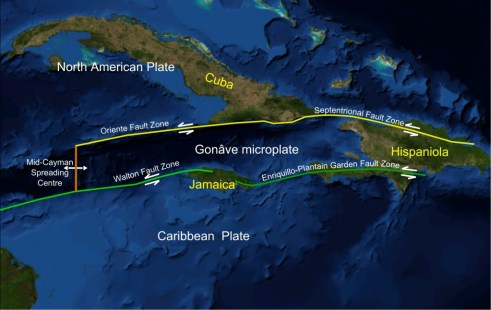 Map showing the Enriquillo-Plantain Garden Faultline that is shared by Haiti and Jamaica
