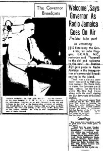 On Jamaica's First Commercial Radio Broadcast on July 9, 1950 Governor Says 'Welcome'…