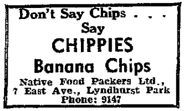This Chippie's banana chips ad appeared in the Daily Gleaner on June 25, 1967.