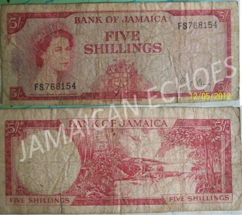 A Jamaican 5 shilling banknote in Flo's collection.