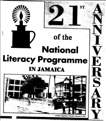 The cover of JAMAL's 21st anniversary supplement, which appeared in the Sunday Gleaner of September 9, 1993, featuring their logo, the kitchen bitch. (Source: Sunday Gleaner, September 9, 1993)
