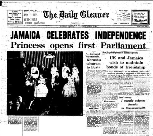 The Wednesday, August 8, 1962 edition of the Daily Gleaner (pg.1)