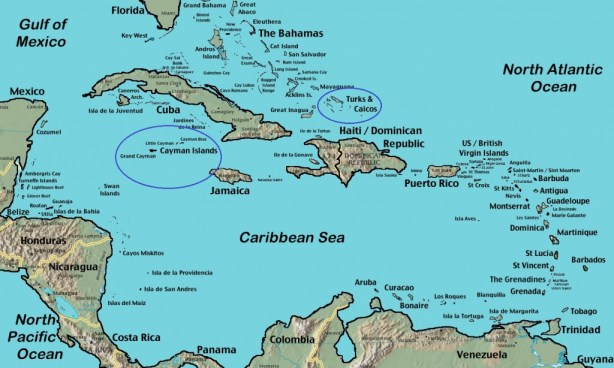 Map of Caribbean highlighting the locations of the The Cayman Islands and The Turks and Caicos Islands (Source: Wikipedia.com)