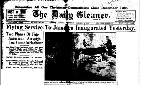 The front page of the Gleaner for Thursday December 4, 1930, reporting on the arrival of the (Source: The Gleaner, Thursday, December 4, 1930, pg. 1)