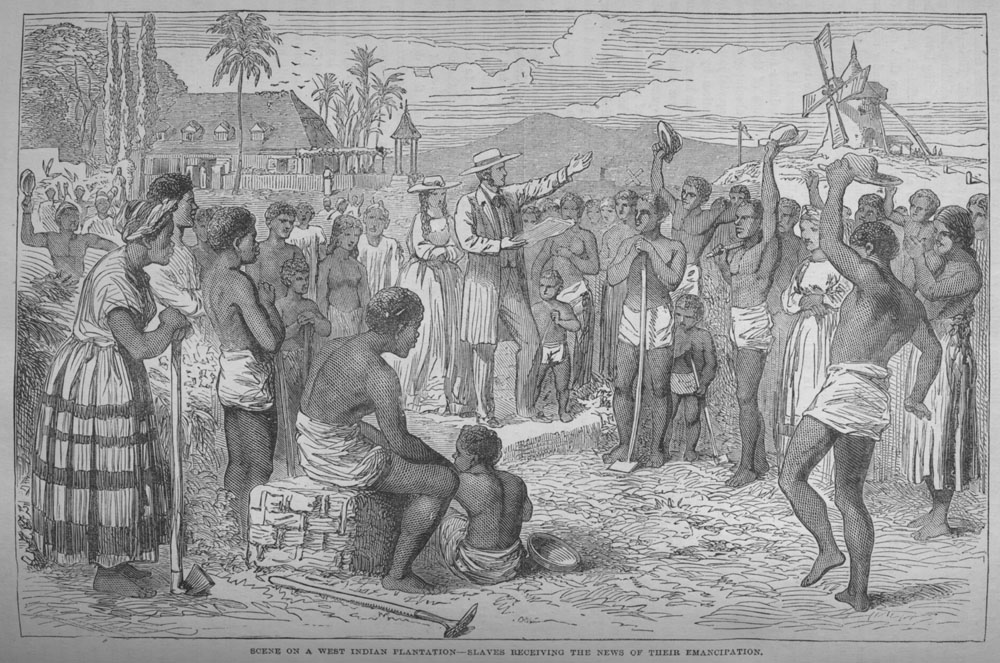 """Scene on a West Indian Plantation--Slaves Receiving the News of Their Emancipation."""