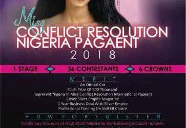 Sponsored post: Miss Conflict Resolution Nigeria Pageant