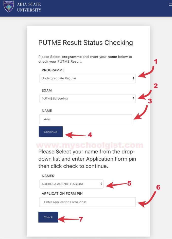 how to check absu post utme result