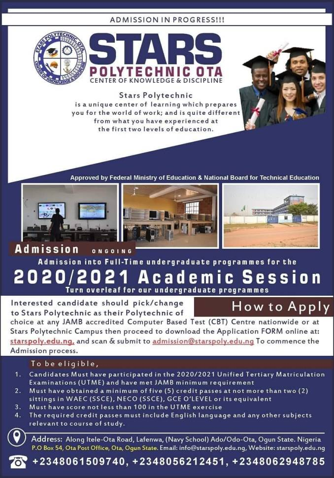 Stars Poly Post UTME Form Advert