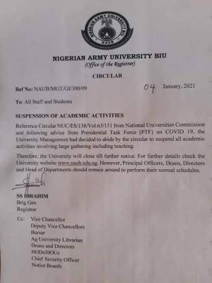 NAUB suspends academic activities