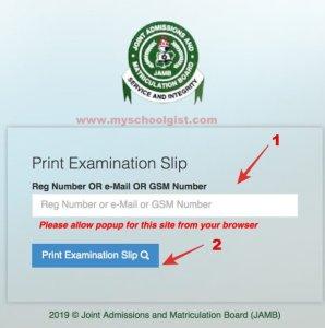 JAMB Exam Slip Reprint