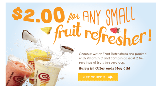 $2 coconut water Fruit Refresher Offer
