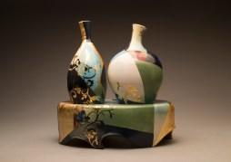 "2 Vases w/ Pedestal 13""Lx7""Wx14""H"