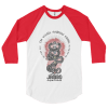 Jambo superfoods baseball tee with red sleeves and kundalini serpent design