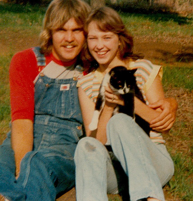 Not sure when or where this was taken, but it is a picture of the love of my life Kay Pratt and me with her cat. This should have been around 1978-79 timeframe.