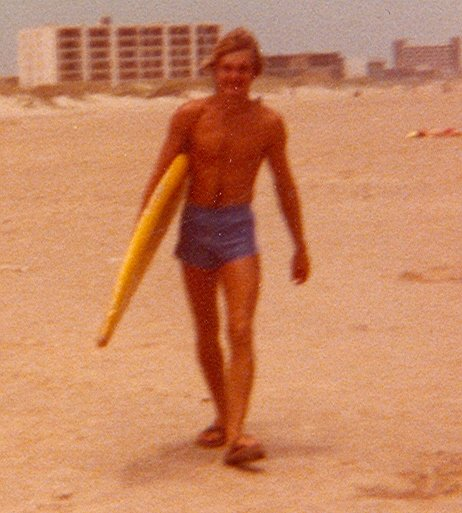 While Kay and I were in South Padre Island, I thought I would learn to surf. Little did I know the guy at the beach rented me a waterlogged surfboard. It would not even hold me up laying flat, much less standing on it. I was too naive to realize I had been ripped off.