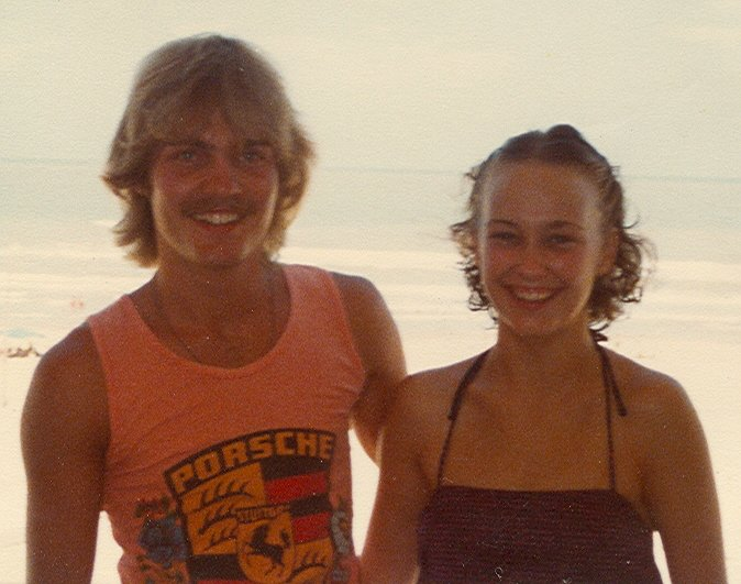 When we were 18 years old Kay invited me to join her on a trip to South Padre Island in Texas. I sold my first motorcycle, a Yamaha XS-750 Special, to fund the trip. Best move I ever made. Hated that motorcycle and loved her!