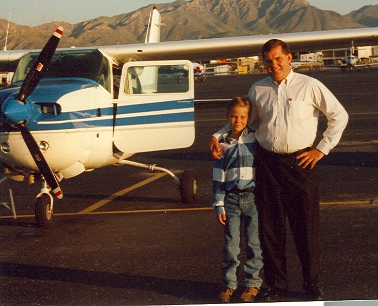 Adam and I standing in front of my Cessna Turbo 210 airplane, N42GD. This was a great airplane except it kept blowing turbochargers.