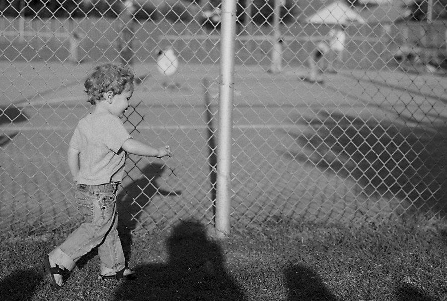 Charlie Pratt at a softball game in Yukon