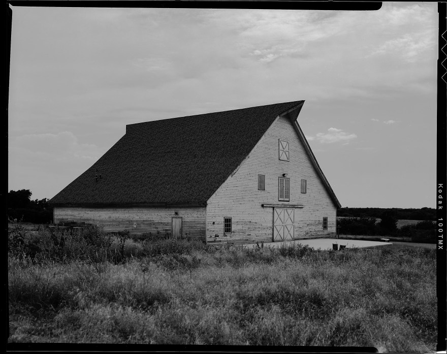 McGranahan Barn in Piedmont, Oklahoma photographed in black and white on Kodak film.