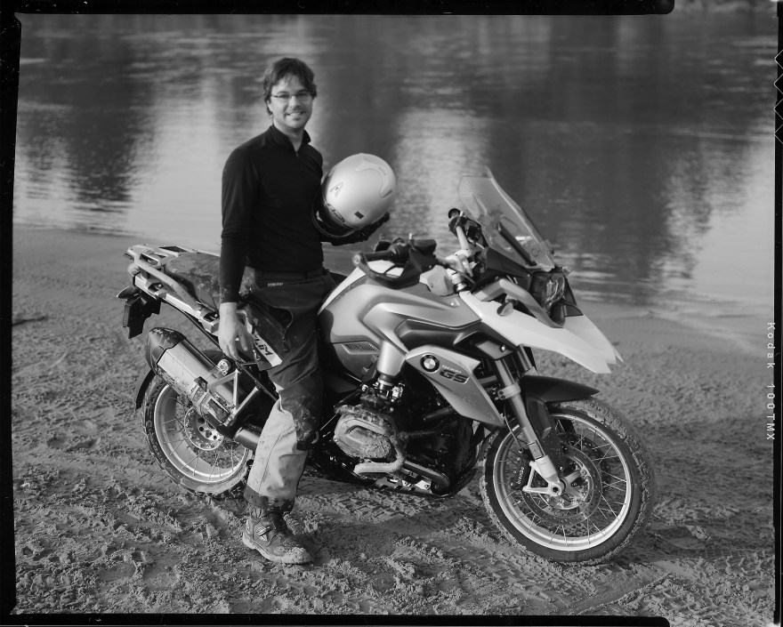 Chad Oakley on a BMW R1200 GS motorcycle