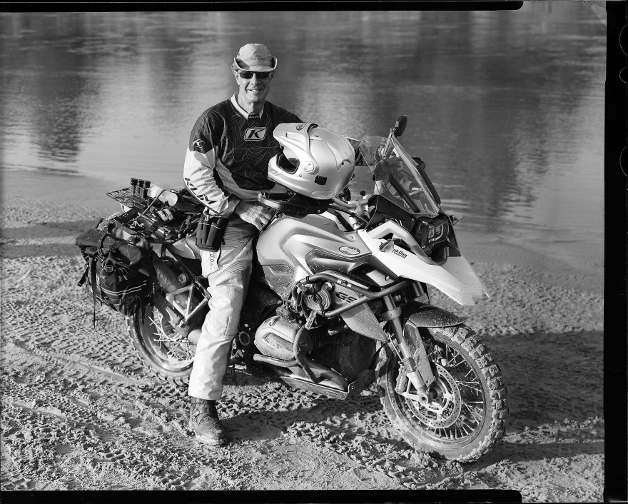 Bill Dragoo on his BMW R1200GS motorcycle.
