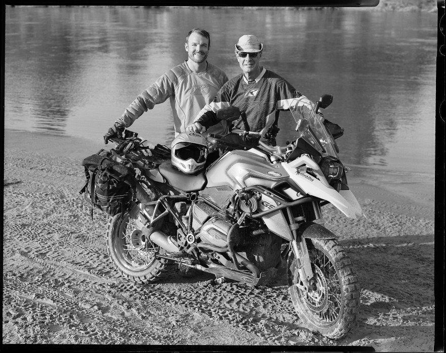 Bill Dragoo with his son Jake Dragoo with Bill's 2015 BMW R1200GS motorcycle.