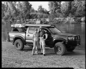 Bill and Susan Dragoo with their Toyota Tacoma adventure pickup truck along the banks of the South Canadian River in Lexington, Oklahoma