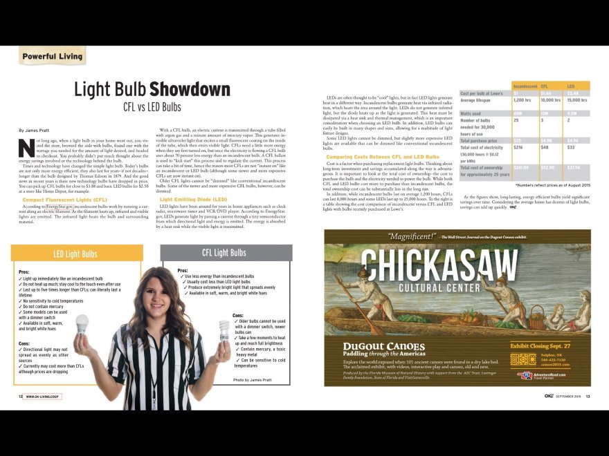 This is page 2 of my Light Bulb Showdown story for Oklahoma Living Magazine.