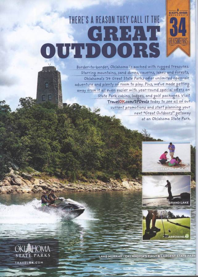 I photographed the primary picture used in this Oklahoma Department of Tourism ad at Lake Murray in southern Oklahoma.