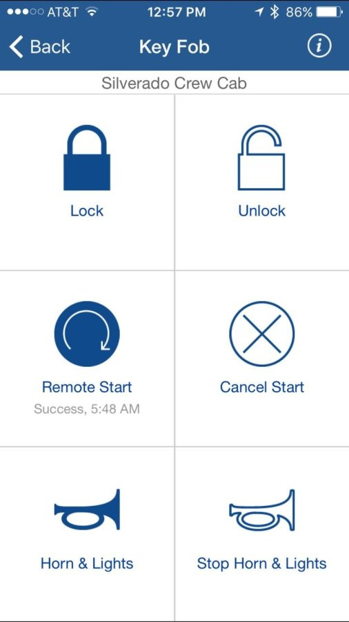 I can perform all the functions on my iPhone using the Onstar app as I can from my keyfob, including remote start.