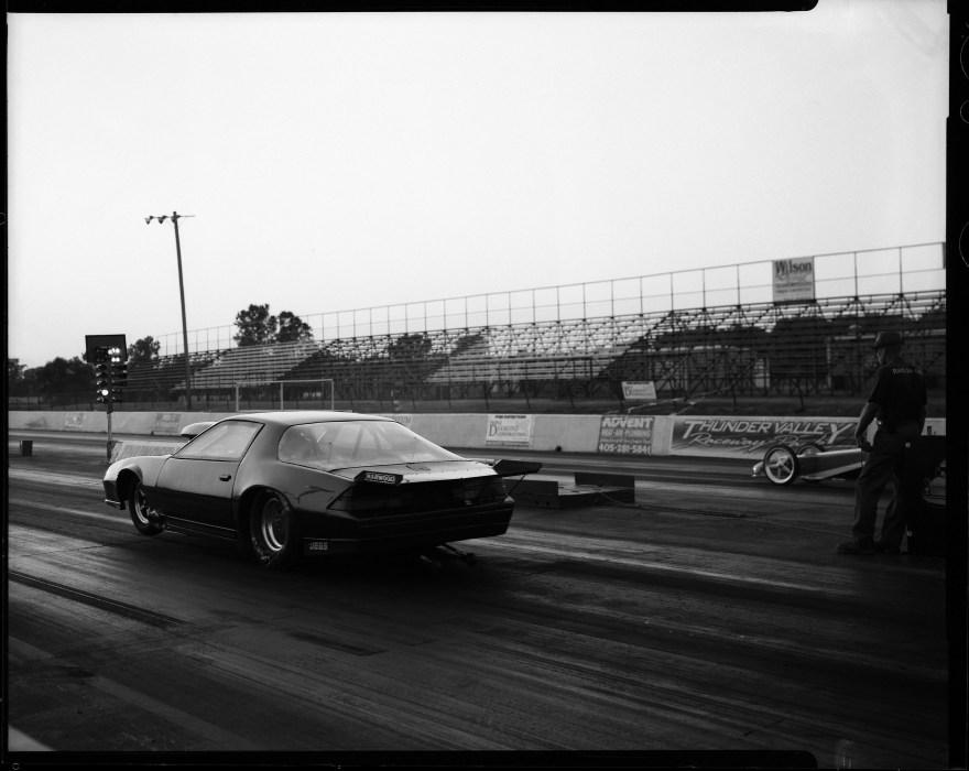 Camaro funny car dragster at Thunder Valley Raceway. Shot with Toyo VX-125 4x5 film camera.