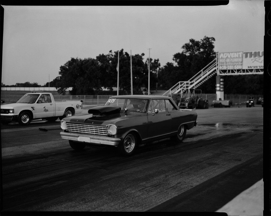 """I think this is a Chevy Nova doing a burnout in the """"water box"""" at the drag strip so his tires are warm and sticky for the upcoming run down the drag strip at Thunder Valley Raceway in Noble, Oklahoma."""