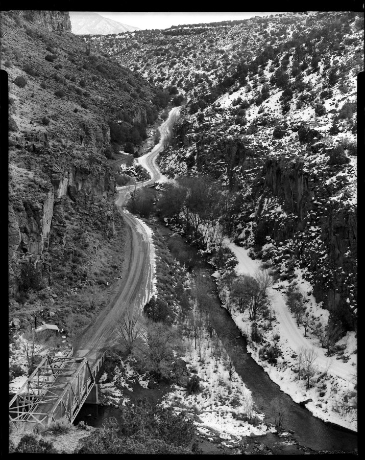 John Dunn Bridge over the Rio Grande River west of Arroyo Hondo in New Mexico. I thought I was shooting on TMAX-100 when I was actually shooting on Ilford HP5 so the image was overexposed but I was able to save it in Photoshop.