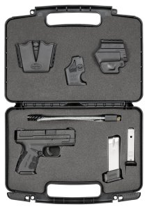 The Springfield Arms XD Mod.2 comes with a 13 round magazine plus a 16 round extended grip magazine, plus a holster, reloader, and magazine pouch. It is the first carry pistol that I felt comfortable shooting USPSA pistol matches.