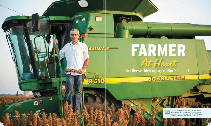Oklahoma Secretary of Agriculture Jim Reese was kind enough to position his John Deere combine in the middle of his milo field so I could take advantage of the early morning light. This picture ran as the opening page double page spread.