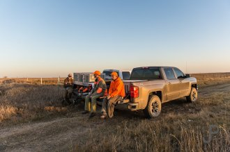 We take a break after the first day of hunting with limited success.