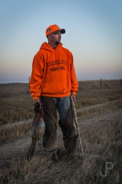 Eric Orsburn finally shoots a nice pheasant right before sunset on our first day.