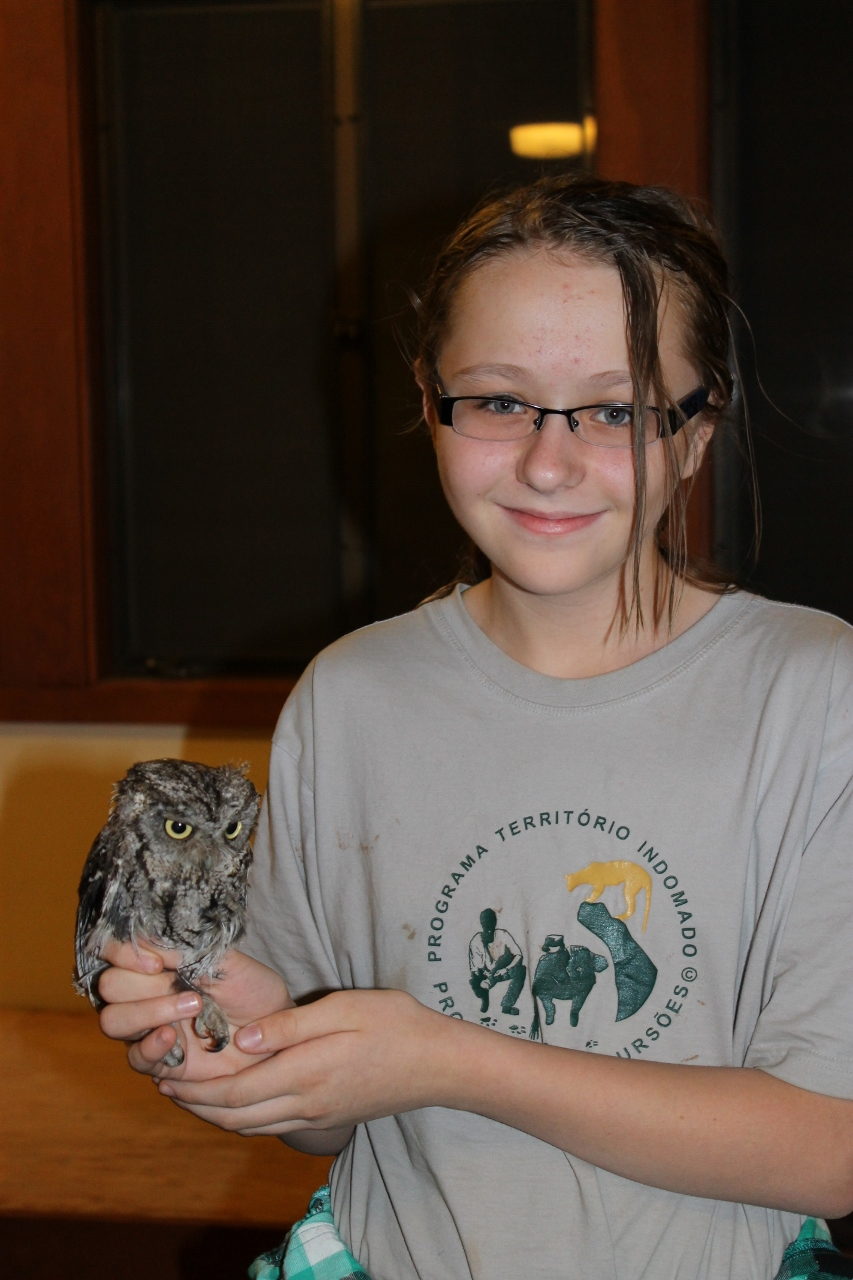 Student with western screech owl