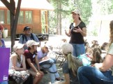 """Dr. Emma Aronson from UCR talking with the """"supernaturalists"""" about her research"""