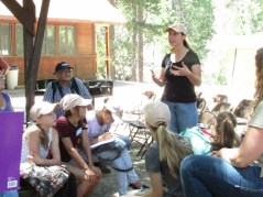 "Dr. Emma Aronson from UCR talking with the ""supernaturalists"" about her research"