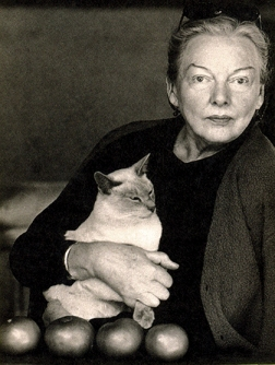 M.F.K. Fisher and one of her admirers.