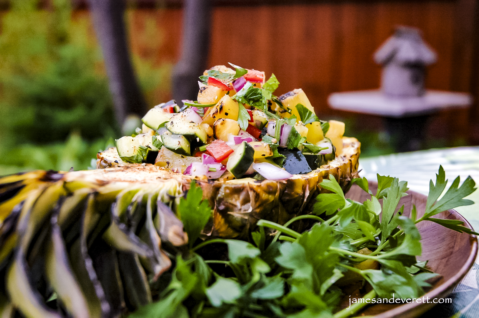 Grilled Pineapple & Cucumber Salad