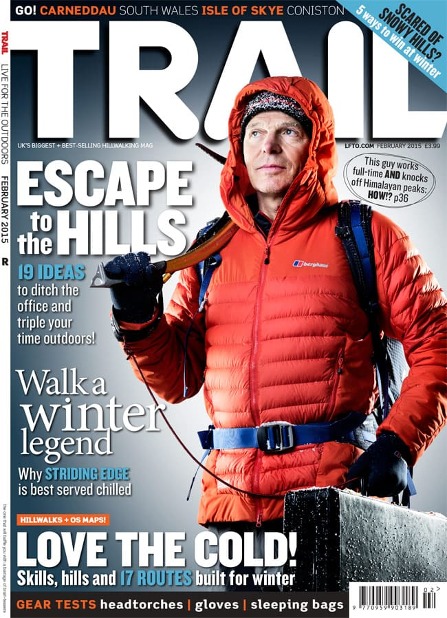 Mick Fowler on the cover of Trail magazine by James Abbott