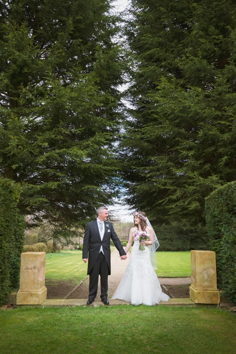 Bride & groom portrait at Stoke Rochford Hall