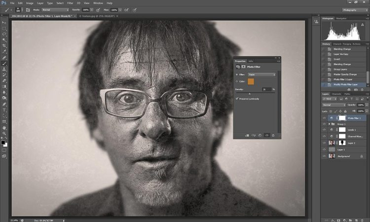 Wet plate collodion effect in Photoshop tutorial step 8