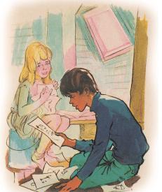James Bond Junior et Sheila/Sheelagh illustrés dans la VF du roman.