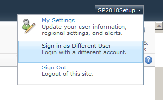 the sign in as different user option is missing in sharepoint 2013