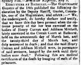 The Moreton Bay Courier on Saturday 30 May 1857 reported on the excution of Addison Mitchell