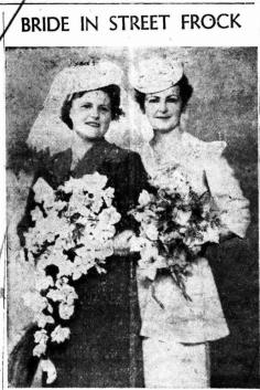 """A blue crepe street-length frock with white accessories was worn by Mrs. Florence May O'Brien, daughter of 'Mr. and Mrs. R. Spinks, of 49 Tweed Street, Lismore, for her wedding to James Douglas Sowter, son of Mrs. M. Sowter, of Goonengerry. They were married in St. Andrew's Church of England, Lismore, by Archdeacon Benyon, at 7.30 on Saturday night. Given away by her father, the bride carried a bouquet of white roses and gladioli and also wore a white straw hat. She was attended by Mrs Clare : Jones, wearing a pink crepe street-length frock with black accessories and carrying a bouquet of pink roses and gladioli. The groom was attended by Douglas Gibson. """"Love Everlasting"""" was sung by soloist, Mrs. C. Walker, in the church. Mesdames Spinks and Sowter received guests at a reception held at the Daffodil Tea Rooms. They will make their home at Goonengerry after a honeymoon at Coolangatta."""