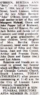 Bertha Ann Dunn (O'Brien) Funeral